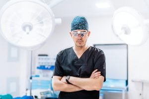 Hospital details - plastic surgeon with surgical lamps